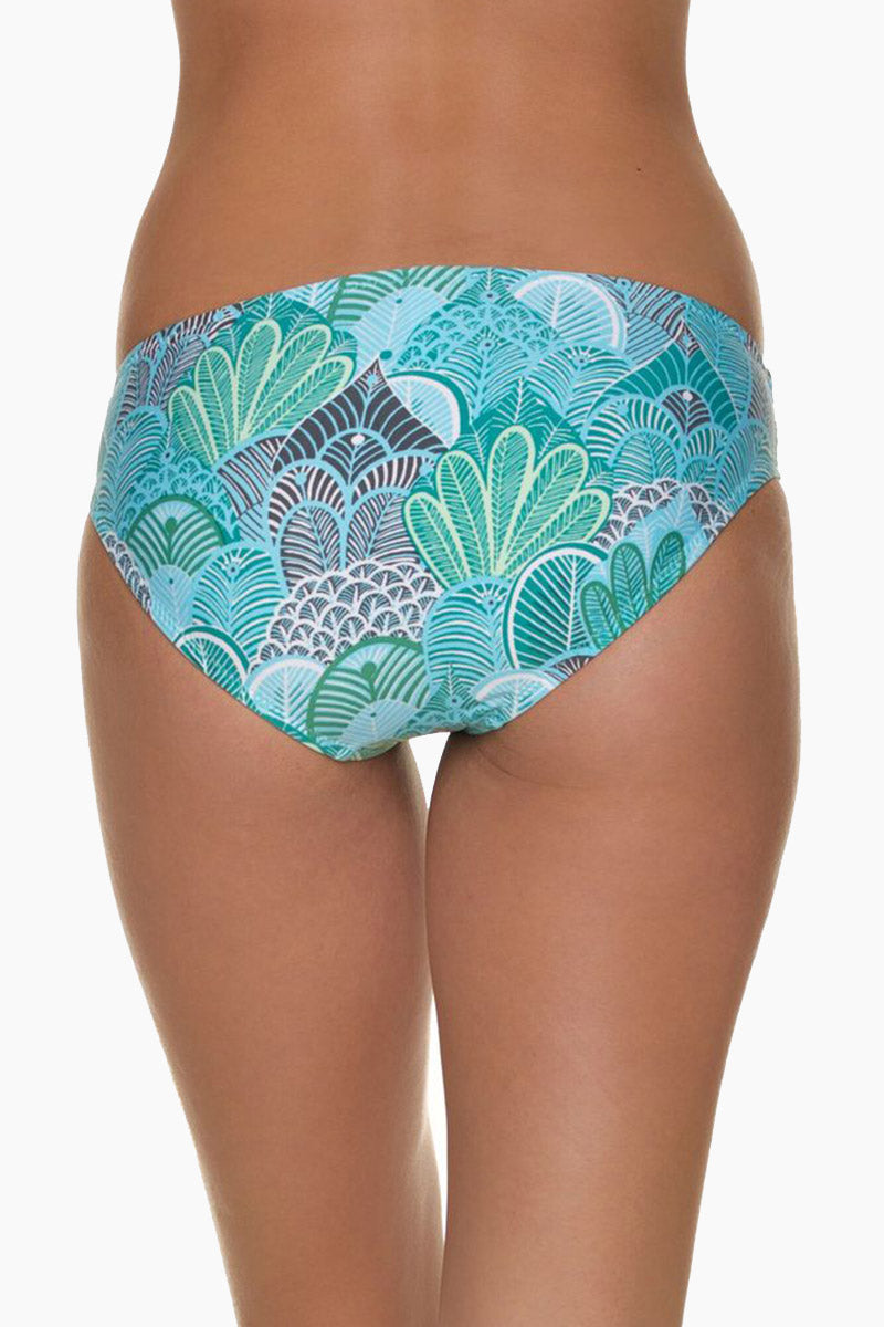 HELEN JON Classic Hipster Bikini Bottom - Dominica Print Bikini Bottom | Dominica Print| Helen Jon Classic Hipster Bikini Bottom - Dominica Print Mid-rise hipster bikini bottom in aqua blue print. Fully lined stretch-fit fabric ensures opacity and provides you with an ultra-smooth, comfortable fit. Full rear cut shows off your curves while providing moderate coverage.  Back View