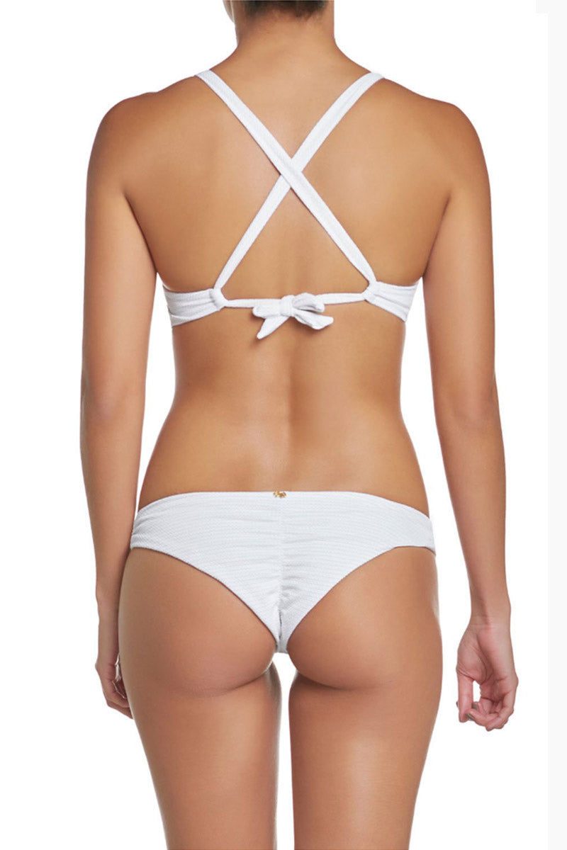 PILYQ Basic Ruched Teeny Bikini Bottom - Monroe White Bikini Bottom | Monroe White| Pilyq Basic Ruched Teeny Bikini Bottom - Monroe White Low-rise hipster style scrunch butt cheeky bikini bottom in white. Easy pull-on style with wide side straps and hipster-style cut  Back View