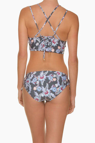 HELEN JON Retreat Criss Cross Back Bikini Top - Rhapsody Print Bikini Top | Rhapsody Print| Helen Jon Retreat Criss Cross Back Bikini Top - Rhapsody Print V Neckline Double Shoulder Straps Criss Cross Back Straps Thick Bra Underband  Removable Soft Cups 80% polyester / 20% spandex Back View