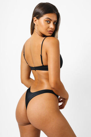 KAOHS Bella Thong Bikini Bottom - Black Bikini Bottom | Black| KAOHS Bella Thong Bikini Bottom - Black Low Rise High cut leg Wide waistband thong coverage  Back View