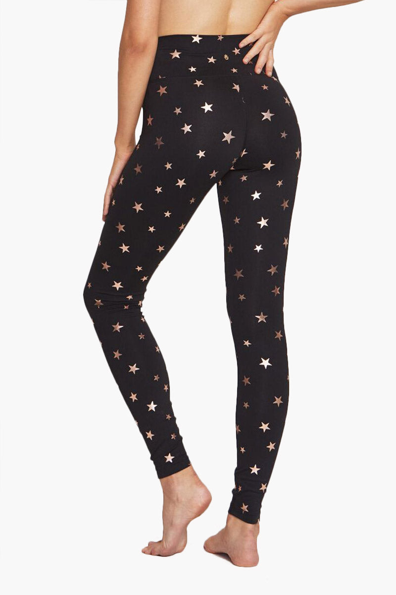 SPIRITUAL GANGSTER High Waisted 7/8 Leggings - Black Starry Vibes Print Leggings | Black Starry Vibes Print|   Spiritual Gangster High Waisted 7/8 Leggings - Black Starry Vibes Print High waisted leggings  7/8 in length Front View