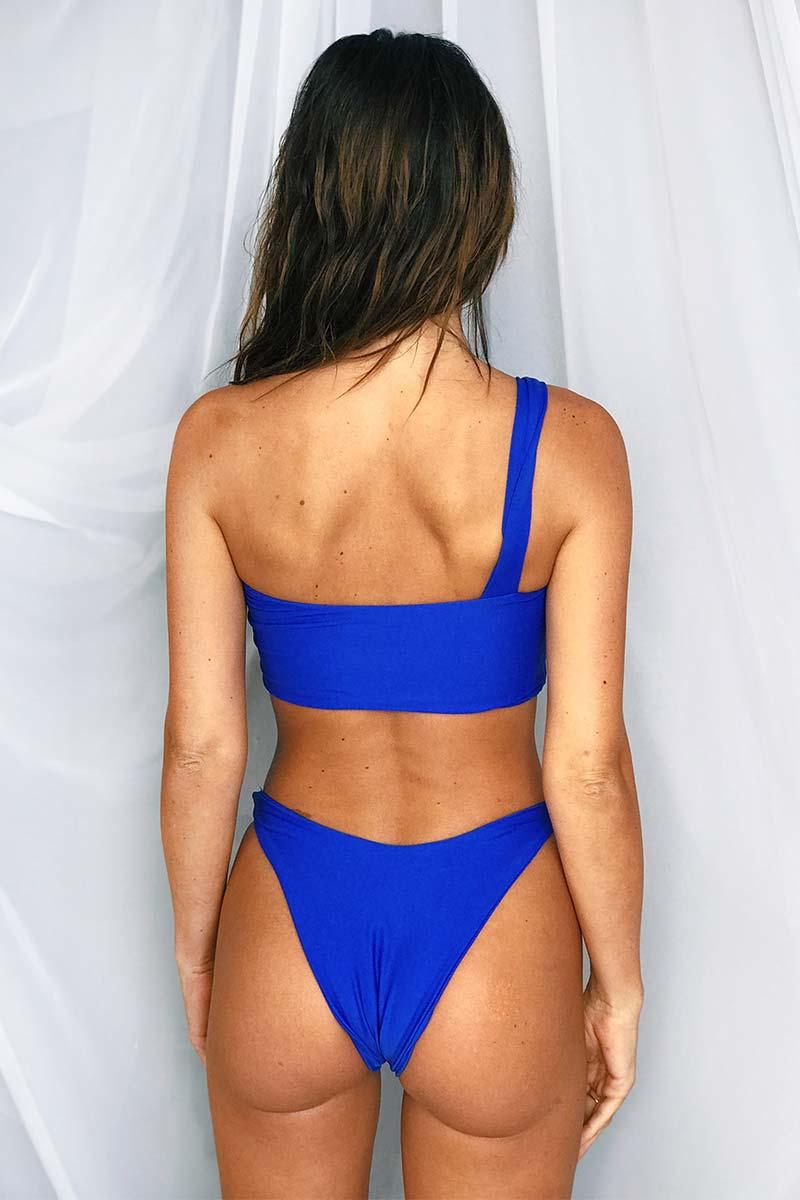 LEE + LANI 2019 One Shoulder Bikini Top - Cobalt Blue Bikini Top | Cobalt Blue|Lee + Lani One Shoulder Bikini Top -