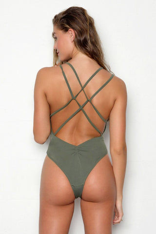 PEIXOTO Isla Criss-Cross Back One Piece Swimsuit - Forest Green One Piece | Forest Green| Peixoto Isla Criss-Cross Back One Piece Swimsuit - Forest Green Plunging neckline  Dual shoulder straps Front keyhole cutout  Removable soft pads Dual criss crossed back straps High cut leg Cheeky coverage Back View