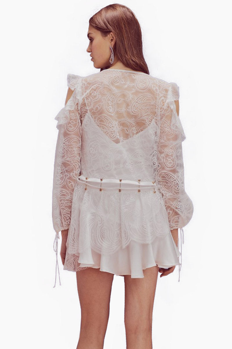 FOR LOVE AND LEMONS Sabina Layered Lace Long Sleeve Mini Dress - White Dress | White| For Love And Lemons Sabina Layered Lace Long Sleeve Mini Dress - White Features:  Sweetheart neckline Sheer Lace sleeves Shoulder cut-outs Drawstring waist Dry clean only Back View