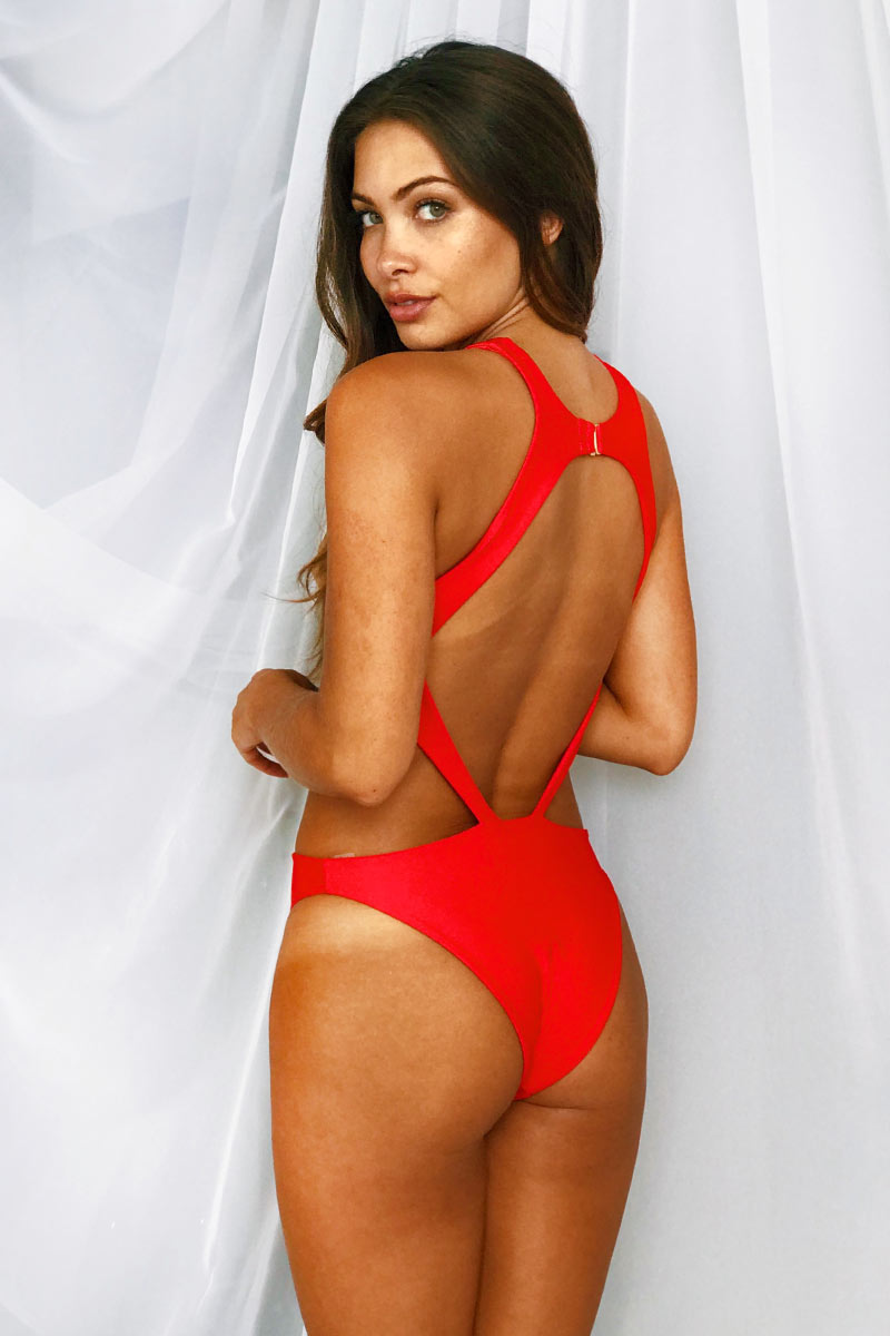 LEE + LANI 2019 Deep V Monikini One Piece Swimsuit - Red One Piece | Red|Lee + Lani Deep V Monikini One Piece Swimsuit -