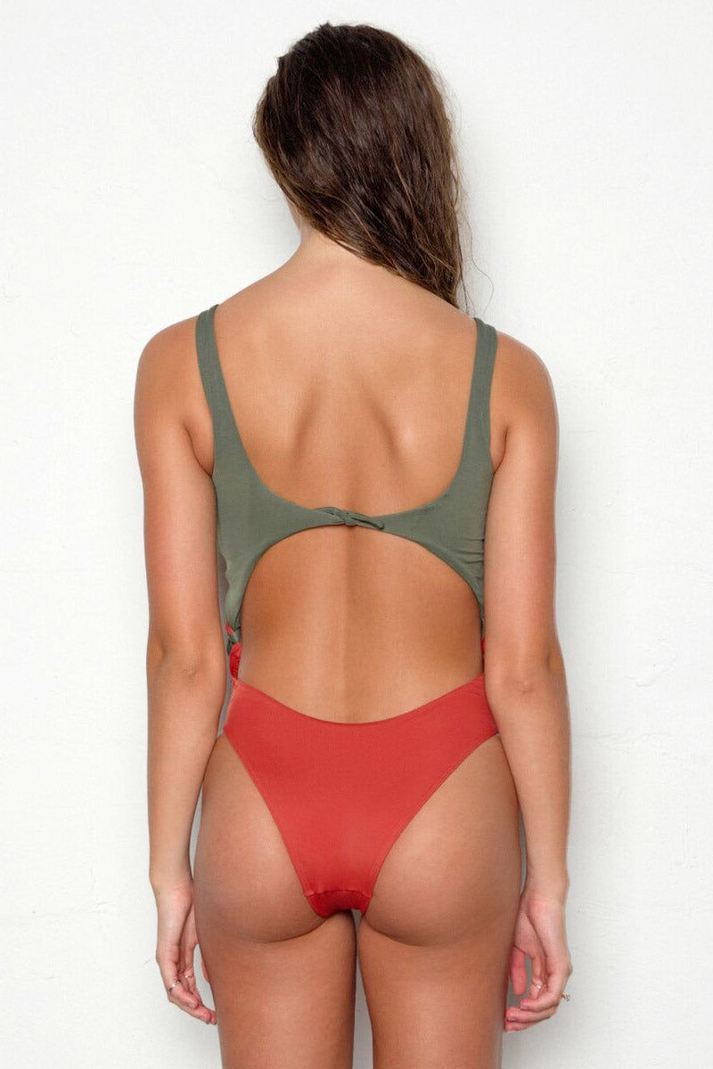 PEIXOTO Praia Side Ties One Piece Swimsuit - Terracotta Forest One Piece | Terracotta Forest| Peixoto Praia Side Ties One Piece Swimsuit - Terracotta Forest * Cut out color blocked convertible  * Elegant scoop neckline and wide shoulder straps  * Large central cut-outs at the front and back * High cut leg  * cheeky coverage Back View
