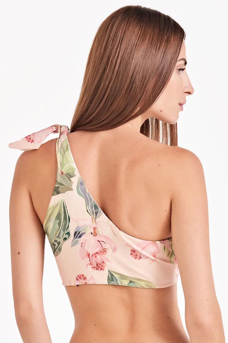 TRIYA Beautiful One Shoulder Bikini Top - Peach Flower Print Bikini Top | Peach Flower Print| Triya Beautiful One Shoulder Bikini Top - Peach Flower Print One shoulder strap  Shoulder tie detail Back View