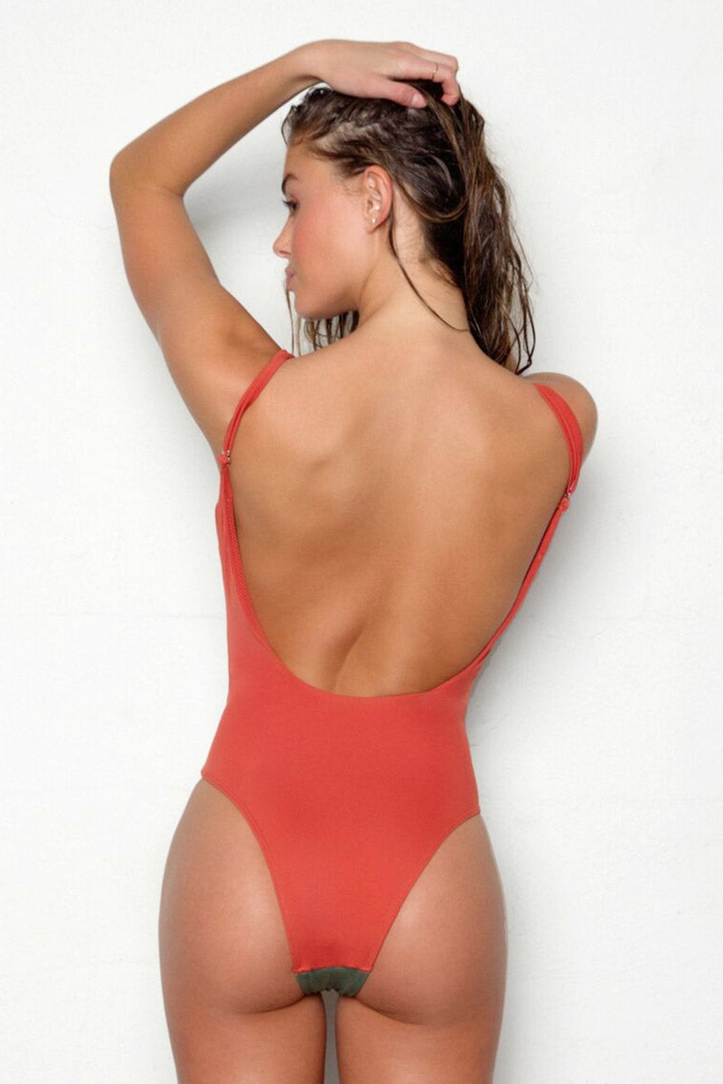 PEIXOTO Rosie Scoop Back One Piece Swimsuit - Terracotta Forest One Piece | Terracotta Forest| Peixoto Rosie Scoop Back One Piece Swimsuit - Terracotta Forest Scoop neckline  Removable soft padding  Adjustable over the shoulder straps can be crisscrossed Open back High cut leg  Cheeky coverage Back View