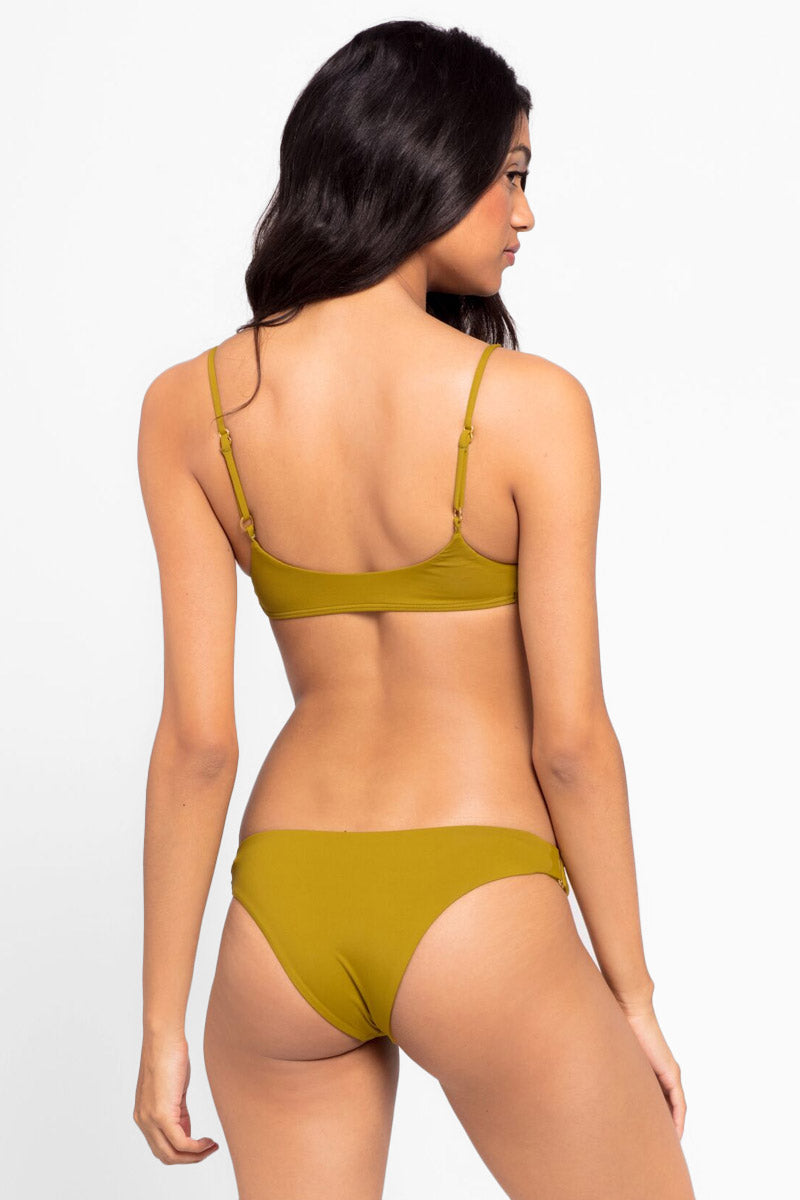 L SPACE Piper Bralette Bikini Top - Sweet Pea Green Bikini Top | Sweet Pea Green| L Space Paige Bralette Bikini Top - Sweet Pea  Green leek and sporty scoop neck hardware bralette style Back View