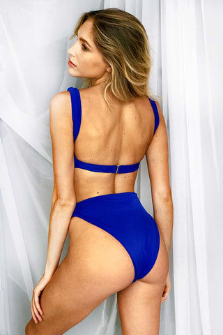 LEE + LANI 2019 High Rise Half Moon Cut Out Bikini Bottom - Cobalt Blue Bikini Bottom | Cobalt Blue|Lee + Lani High Rise Half Moon Cut Out Bikini Bottom -