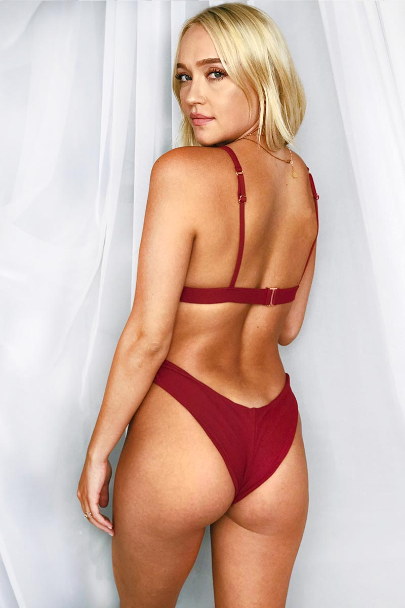 MGS 2019 Spice Ribbed Adjustable Bikini Top - Burgundy Rib Bikini Top | Burgundy Rib| MGS 2019 Spice Ribbed Adjustable Bikini Top - Burgundy Rib. Features:  High apex directional rib Bralette style Adjustable back and straps Burgundy lycra lining Fabric Content:  Rib with lycra lining Front View
