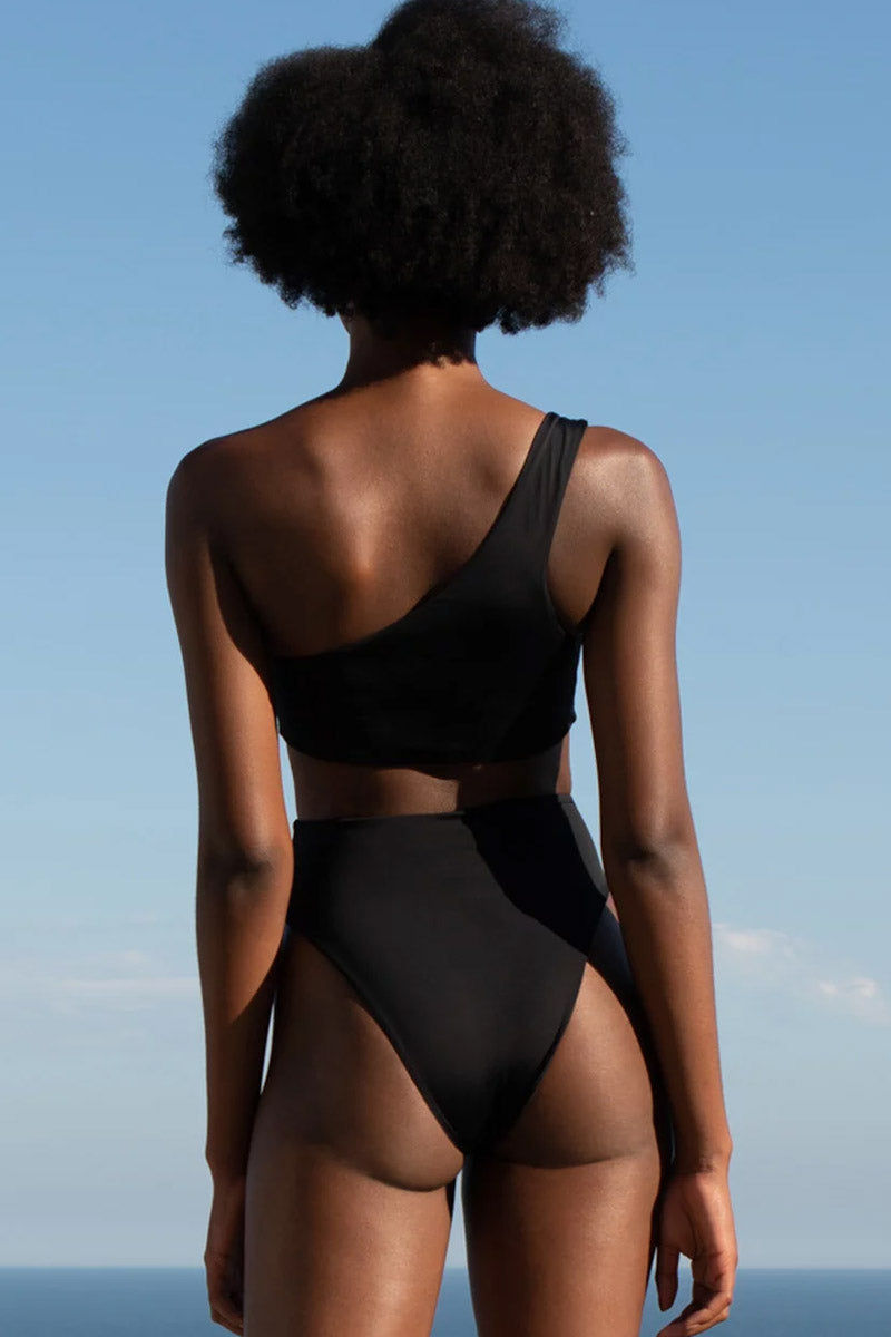 HAIGHT Crepe Perlin One Shoulder Bikini Top - Black Bikini Top | Black| Haight Crepe Perlin One Shoulder Bikini Top - Black Features:  One shoulder bikini top Thick strap Back View