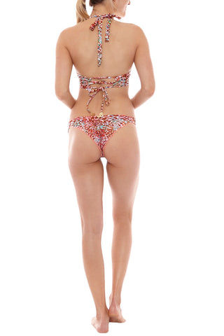 LULI FAMA Strappy Brazilian Ruched Back Bikini Bottom - Untameable Print Bikini Bottom | Untameable Print| Luli Fama Strappy Brazilian Ruched Back