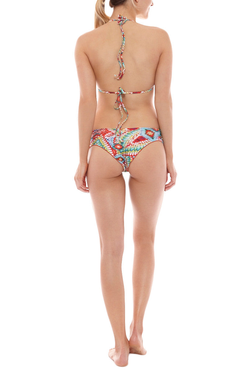 LULI FAMA Crystalized Halter Molded Push Up Bikini Top - Wild Heart Print Bikini Top | Wild Heart Print| Luli Fama Crystalized Halter Molded Push Up Bikini Top - Wild Heart Print Halter bikini triangle top featured in a multi colored Wild Heart print of reds, blues and greens.  Lace-up tie front creates a head-turning effect that shows off the perfect amount of cleavage and are finished off with gold beaded charms. Padded cups offer optimal support and shaping. Back View