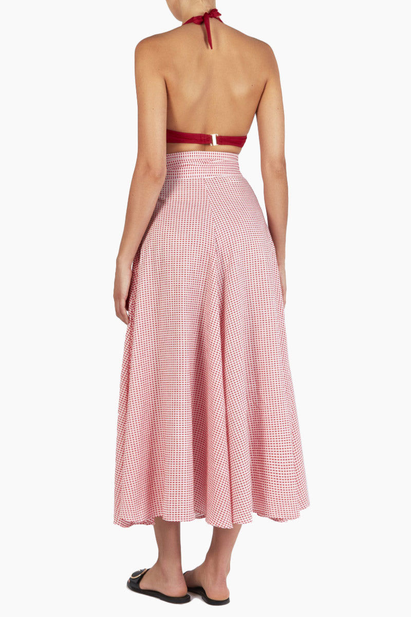 EVARAE Milu Wrap Skirt - Red Texture Skirt | Red Texture| Evarae Milu Wrap Skirt - Red Texture. Features:  High waisted skirt Textured material Bow detail Back View