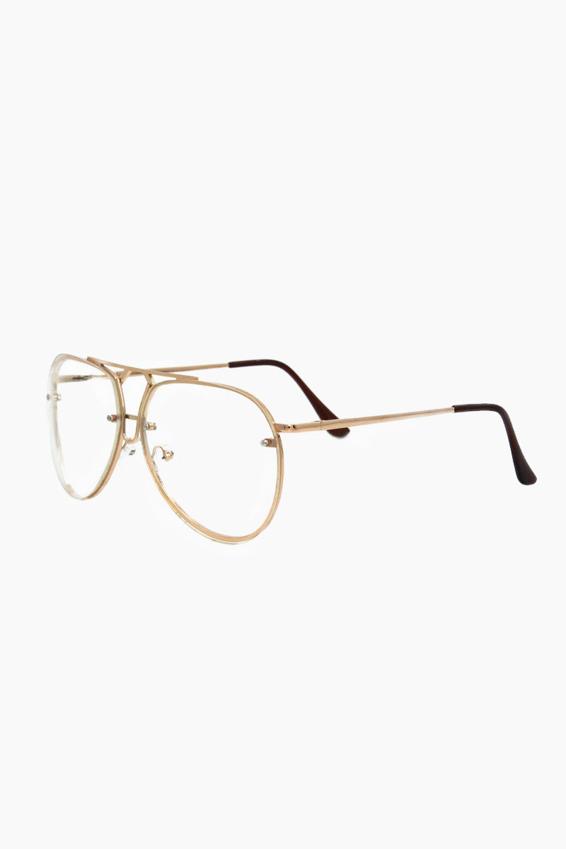 I-SEA Bardot Glasses - Clear/Gold Sunglasses | Clear/Gold| I-Sea Bardot Sunglasses - Gold Aviator Sunglasses Frame Color: Gold Lens Color: Clear   Side View