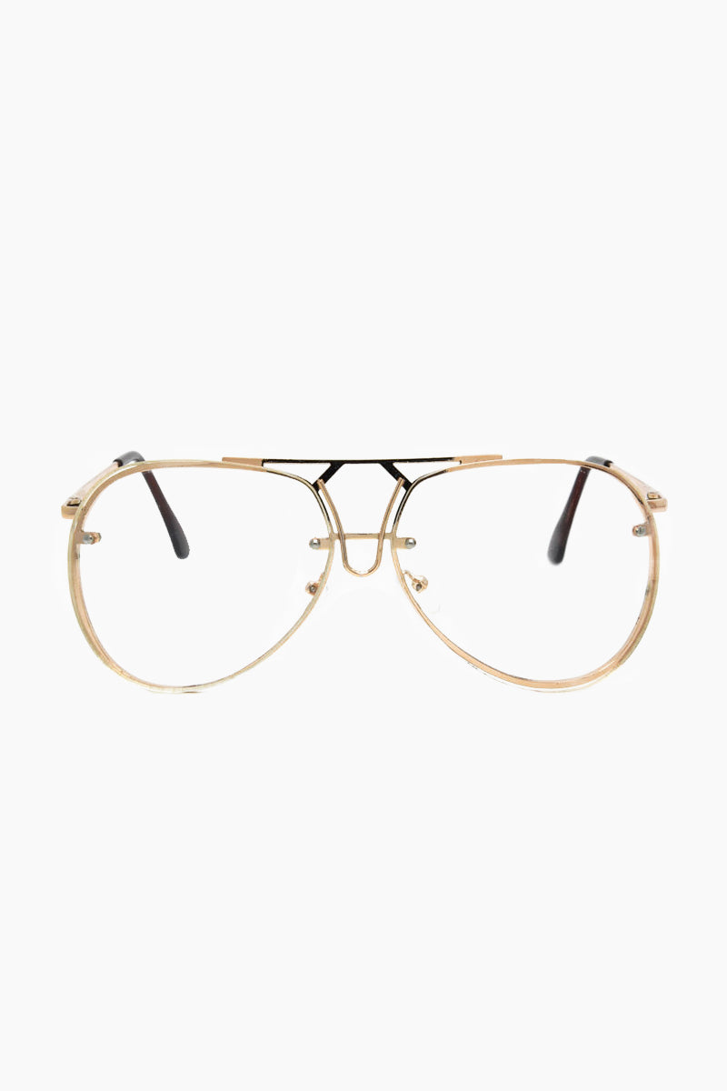 I-SEA Bardot Glasses - Clear/Gold Sunglasses | Clear/Gold| I-Sea Bardot Sunglasses - Gold Aviator Sunglasses Frame Color: Gold Lens Color: Clear   Front View