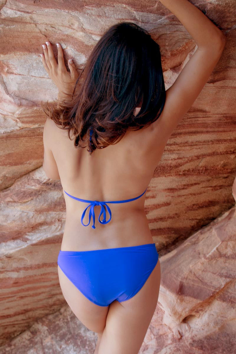 BEACH JOY Pleated Triangle Bikini Top Bikini Top | Electric Blue|