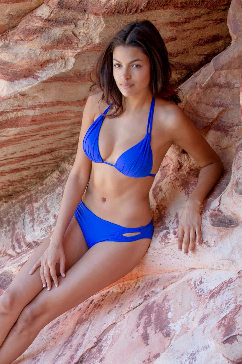 BEACH JOY Cut Out Bikini Bottom Bikini Bottom | Electric Blue|