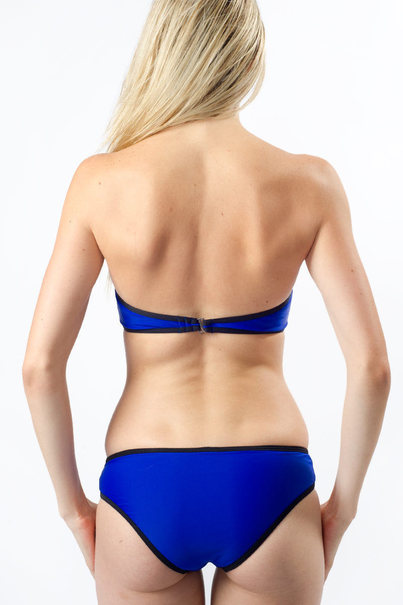 BEACH JOY Color Block Bustier Bikini Top - Electric Blue Bikini Top | Electric Blue| Beach Joy Color Block Bustier Bikini Top - Electric Blue. Back View. Removable Halter Strap. Fully lined and padded.