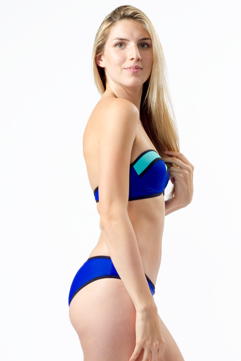 BEACH JOY Color Block Bustier Bikini Top - Electric Blue Bikini Top | Electric Blue| Beach Joy Color Block Bustier Bikini Top - Electric Blue. Side View. Removable Halter Strap. Fully lined and padded.
