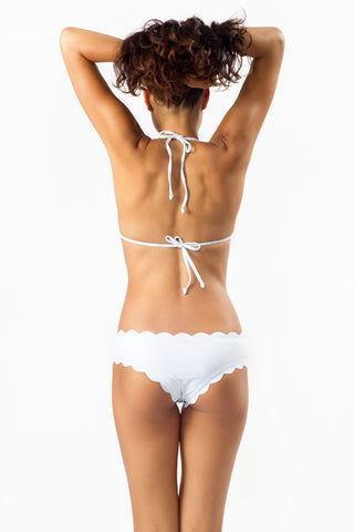 BEACH JOY Moderate Coverage Scallop Edge Bikini Bottom - White Bikini Bottom | White|