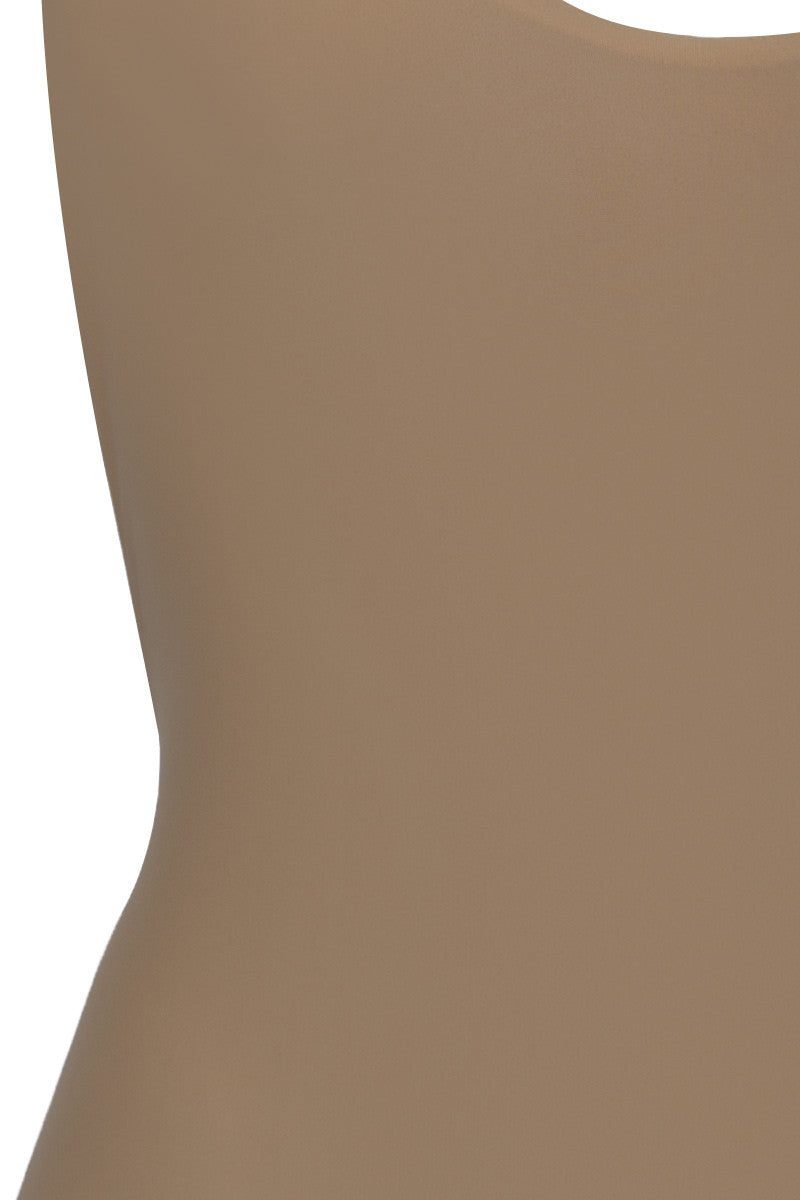 BETTINIS Macrame Open Back Cheeky One Piece Swimsuit - Sand Brown One Piece | Sand Brown |Bettinis Macrame Open Back Cheeky One Piece Swimsuit - Sand Brown Crochet details on straps and in back Double lined, no padding Cheeky coverage 83% Nylon, 17% Spandex Front View