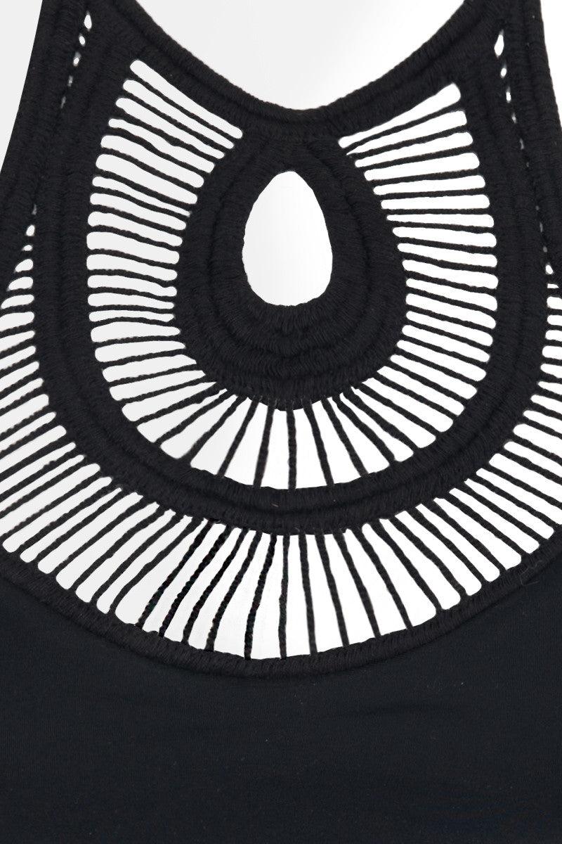 BETTINIS Crochet High Neck Bikini Top - Black Bikini Top | Black|