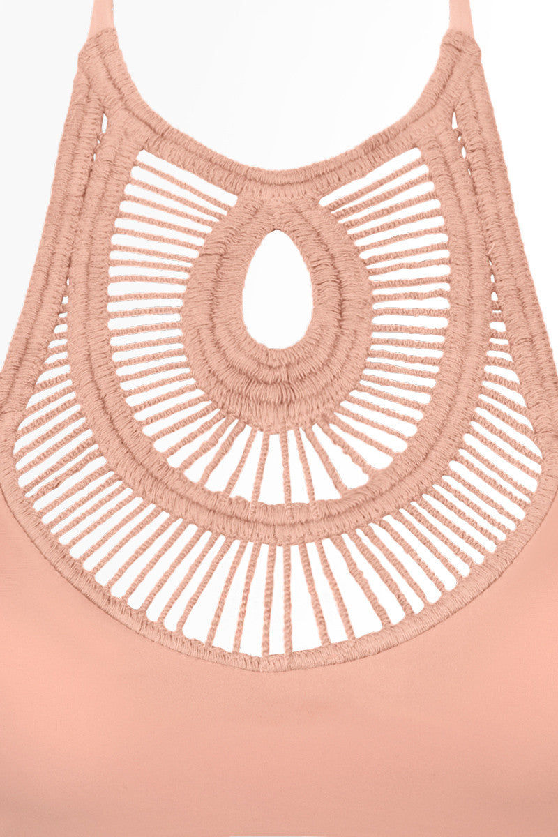 BETTINIS Crochet High Neck Bikini Top - Peach Orange Bikini Top | Peach Orange| Bettinis Crochet High Neck Bikini Top - Peach Orange High neck crochet details Ties at neck and back Double lined, no padding 83% Nylon, 17% Spandex Front View