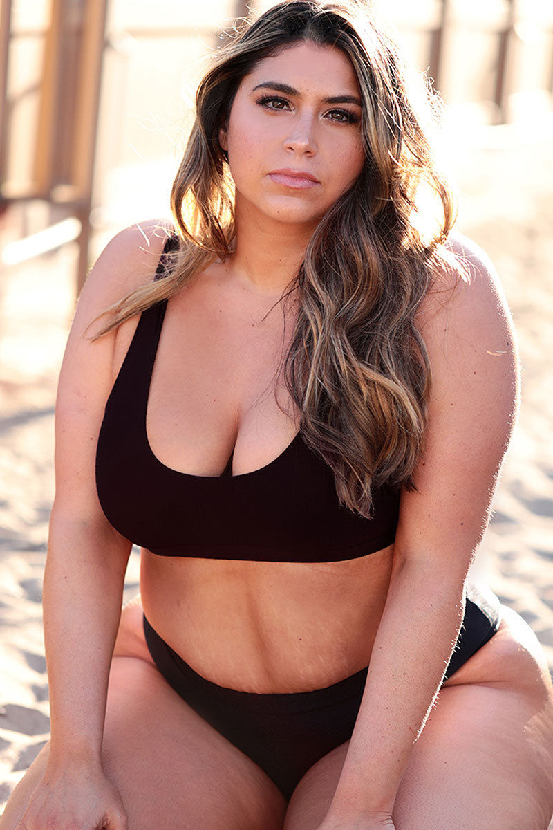 AXIL SWIM Tori High Waist Bikini Bottom (Curves) - Black Bikini Bottom | Black| Axil Swim Tori High Waist Bikini Bottom - Black. Features: Athleisure lovers beware! These are about to go into your essentials drawer. The Tori bottoms give you great flirty coverage...all at once. Bikini bottoms that are super comfy with a hint of cheekiness ;) High Waist Cut - helps to accentuate those curves Seamless Finish - who doesn't like seamless anything?! High-Quality Material - sexy subtle shine, Shiny Tricot 82% Nylon 18% Handmade in USA - can't beat that!
