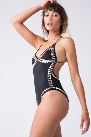 NORMA KAMALI Stud Slip Mio One Piece - Studded Black One Piece | Studded Black| Norma Kamali Stud Slip Mio One Piece -  Studded Black