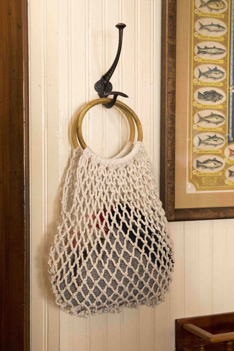 KAYU Blake Tote - White Bag | White| Kayu Blake Tote - White. Features:  Crocheted from white cotton Wooden hoop top handles Open top Unlined Front View