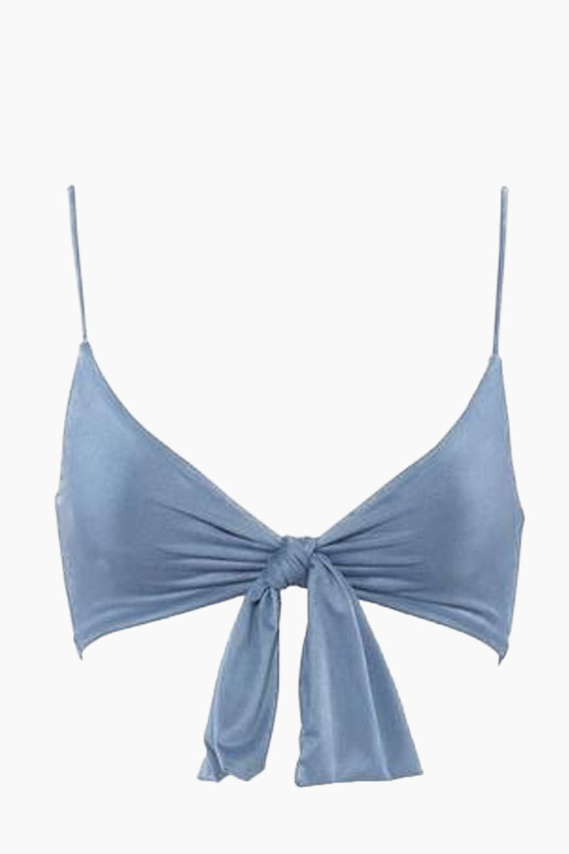 MONICA HANSEN BEACHWEAR Start Me Up Front Knot Bikini Top - Blue Bikini Top |  Blue| Monica Hansen Beachwear Start Me Up Front Knot Bikini Top - Blue. V neckline Thick front tie detail Adjustable shoulder straps Back clasp closure Double fabric on the inside instead of lining Italian fabric 85% Nylon 15% Elastane Manufactured in Italy Hand wash cold.  Dry Flat Front View