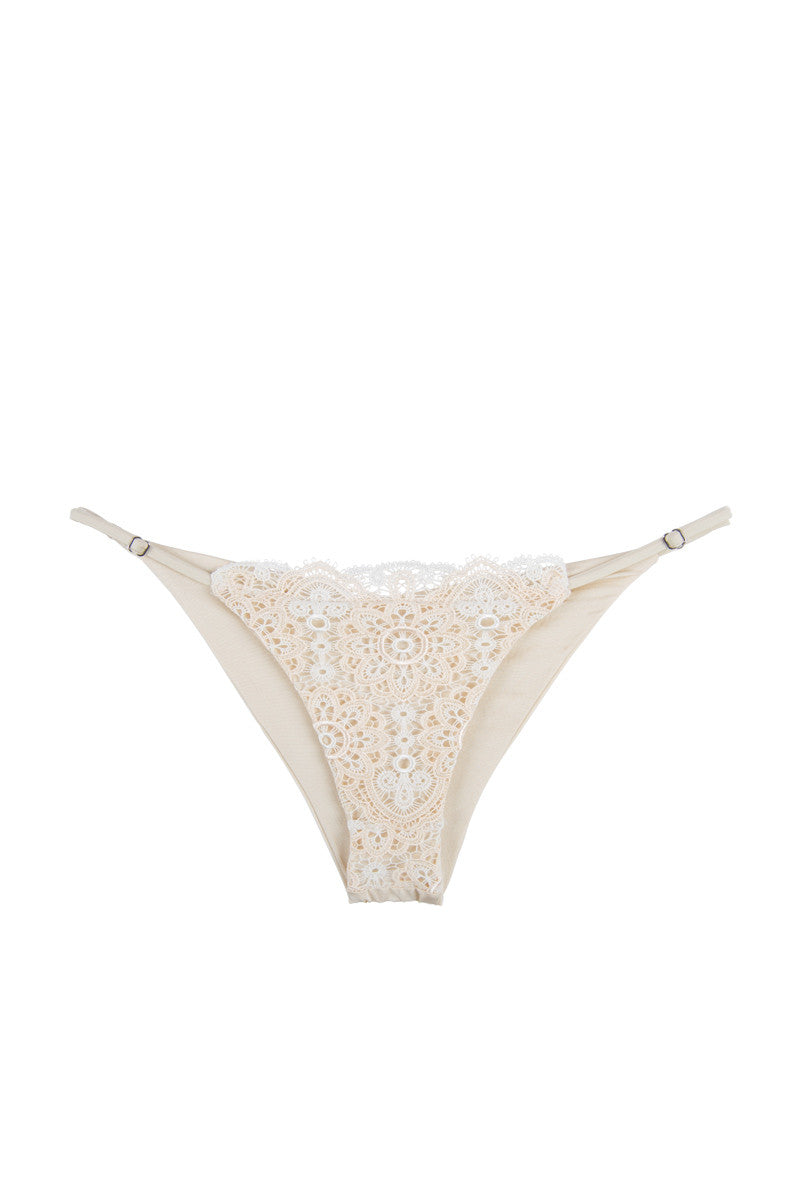 BLUE LIFE Seashell Skimpy Bikini Bottom - Pearl Bikini Bottom | Pearl| Blue Life Seashell Skimpy Bikini Bottom Adjustable, barely-there spaghetti straps at the sides. Low rise cut. Gently gathered ruching at the back. Cheeky coverage.