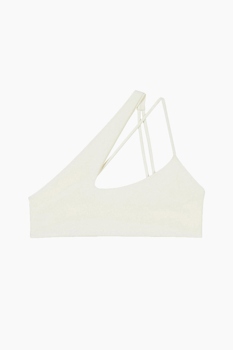 MIKOH Queensland One Shoulder Criss Cross Bikini Top - Bone White Bikini Top   Bone White  Mikoh Queensland One Shoulder Criss Cross Bikini Top - Bone White. Features: Asymmetric one shoulder straps. Sporty. Seamless. Front view.