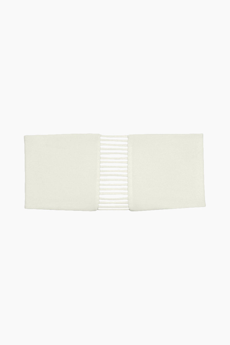 MIKOH Sunset Skinny String Bandeau Bikini Top - Bone White Bikini Top | Bone White| Mikoh Sunset Skinny String Bandeau Bikini Top - Bone White Features:   Strapless bandeau  Stringy front detail  Seamless  Side boning Front View