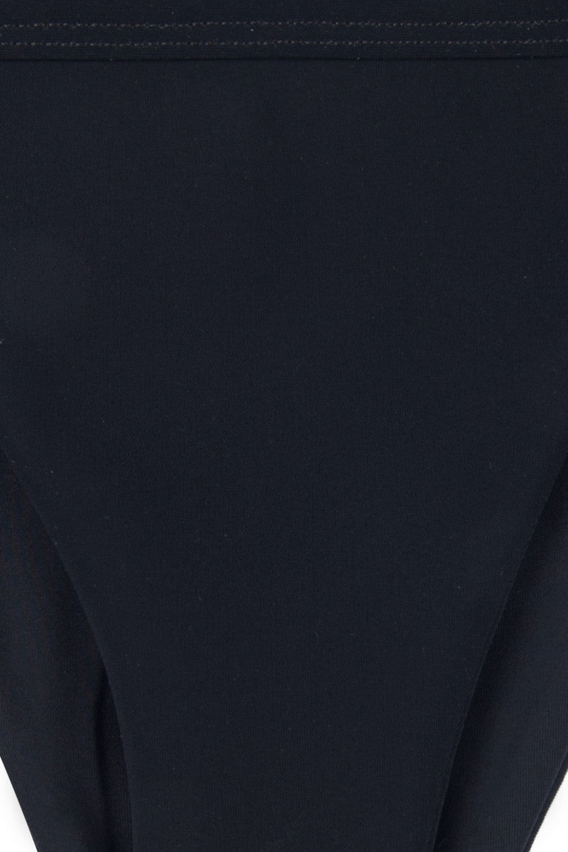 ZIGILANE Ride or Die High Cut Bikini Bottom - Black Bikini Bottom | Black| Zigilane Ride or Die High Cut Bikini Bottom - Black High cut leg Thick, lined fabric Minimal coverage 72% Microfiber Nylon, 28% Spandex Front View