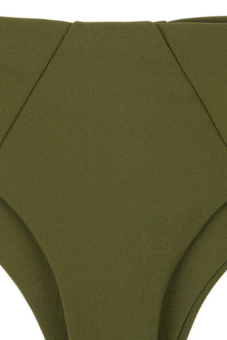 STONE FOX SWIM Byron Low Rise Thong Bikini Bottom - Olive Green Bikini Bottom | Olive Green| Stone Fox Swim Byron Low Rise Thong Bikini Bottom - Olive Green Low-rise hipster Brazilian bikini bottom in olive green. Front View