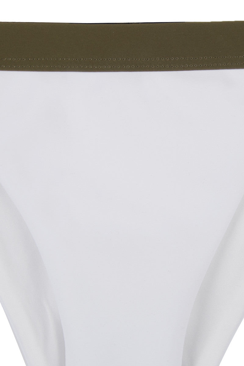 ZIGILANE Private Jet Bottom Bikini Bottom | White & Olive Green|
