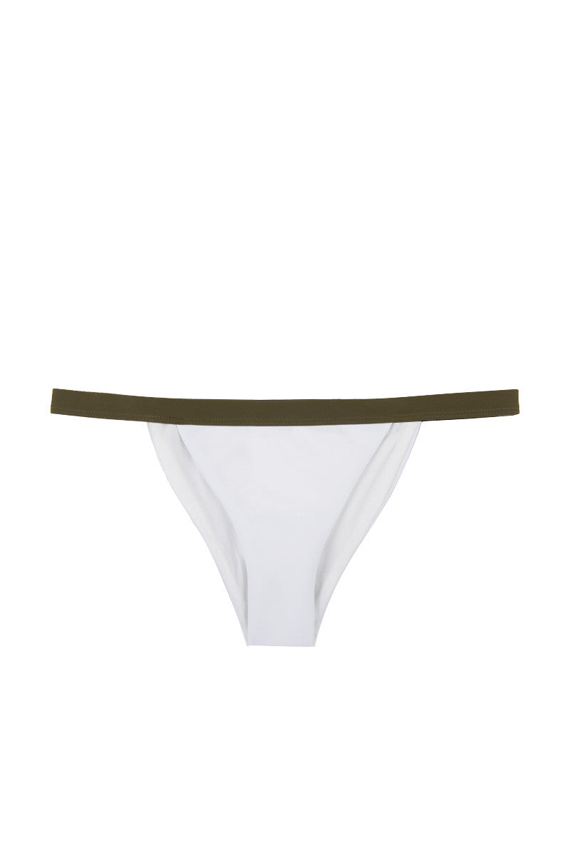 ZIGILANE Private Jet Color Block High Cut Bikini Bottom - White & Olive Green Bikini Bottom | White & Olive Green| Zigilane Private Jet Color Block High Cut Bikini Bottom - White & Olive Green Color block High cut Thick, lined fabric Cheeky coverage  72% Microfiber Nylon, 28% Spandex Front View