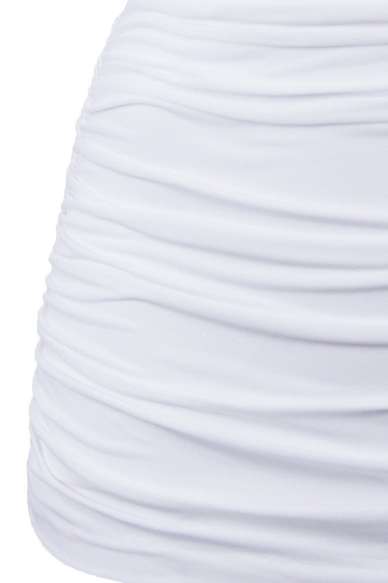 NORMA KAMALI Bill High Waist Bikini Bottom - White Bikini Bottom | White| NORMA KAMALI Bill High Waist Bikini Bottom - White. Detailed View. Elegant white high-waisted bikini bottom in luxe ruched swim jersey fabric. All-over shirring and fully ruched hips sculpt and flatter your figure. Retro high waist smoothes your tummy and sculpts an hourglass shape. Underlayer of nylon spandex jersey acts as a base and gives you a brilliant form.