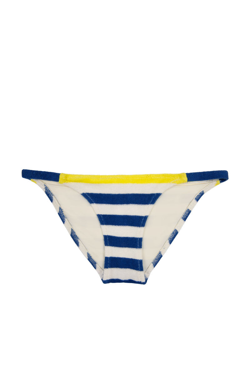 SOLID & STRIPED The Morgan Terrycloth Bikini Bottom - Blue & Cream Stripe Print Bikini Bottom | Blue & Cream Stripe Print| Solid & Striped Morgan Bikini Bottom - Blue & Cream Stripe Print   Low rise moderate coverage Front View