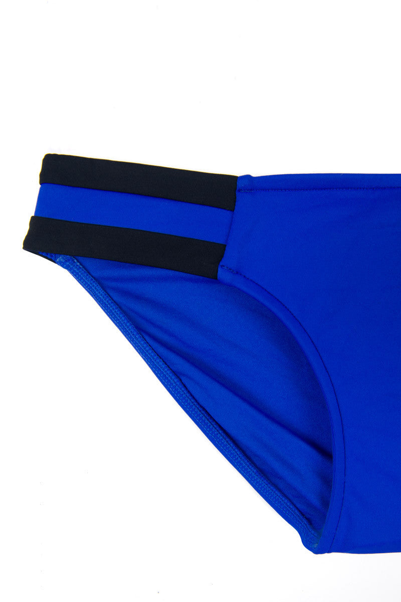 SEAFOLLY Block Party Spliced Bi-Color Side Stripe Bikini Bottom - Blue Ray/Black Bikini Bottom | Blue Ray|
