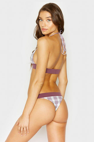 FRANKIES BIKINIS Britt Elastic Waistband Bikini Bottom - Tartan Purple Plaid Print Bikini Bottom | Tartan Purple Plaid Print| Frankies Bikinis Britt Elastic Waistband Bikini Bottom - Tartan Plaid Print Thick elastic waistband  Hipster Skimpy coverage  Back View