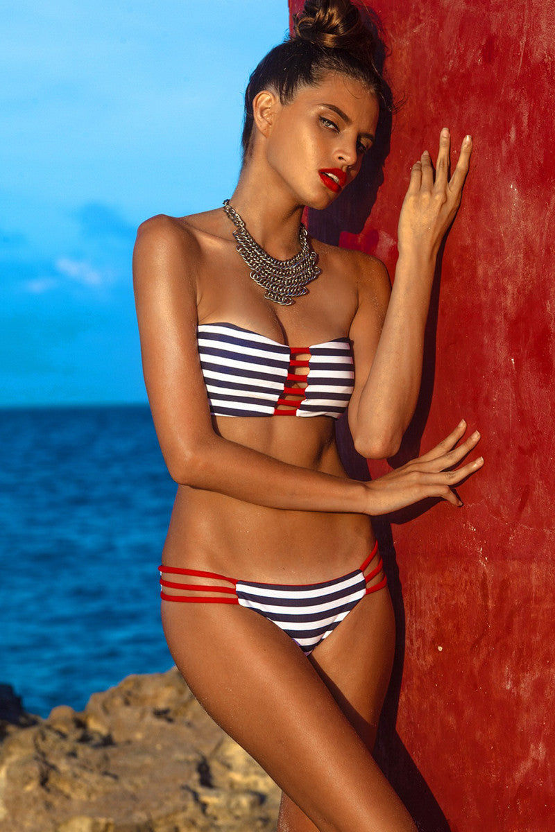 KHONGBOON Brunei Reversible Top Bikini Top | Blue and White/Red|