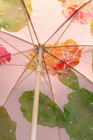 "BUSINESS AND PLEASURE CO Family Beach Umbrella - Cactus Desert Pink Pool Accessories | Cactus Desert Pink | BUSINESS AND PLEASURE CO Family Beach Umbrella - Cactus Desert Pink. Large 6"" Span. Printed poly/cotton canvas with UV & Water Resistant treatment. World forestries certified, reclaimed timber wood Pole with Chestnut finish. Natural cotton Fringe & Internal trim. Canvas Carry Bag in same print design. Natural cardboard gift box. Front View"