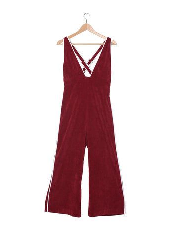 CAMP COLLECTION Jan Jumpsuit - Maroon Corduroy Jumpsuit | Maroon Corduroy| Camp Collection Jan Jumpsuit - Maroon Corduroy Hanging View Corduroy jumpsuit Ankle-length High waisted Wide leg  Cream piping throughout Adjustable straps   Dropped crotch  Center back invisible zipper  Elastic at back waist for comfy fit Dry clean only 90% polyester / 8% nylon / 2% elastane