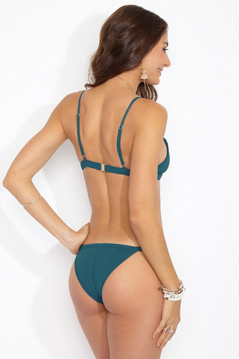 FELLA Lennox Adjustable Thin Strap Bikini Top - Galapagos Green Bikini Top | Galapagos Green|Lennox Top Front View Features:  Italian Lycra Bra style adjustable top with front detail and clip back The best selling essential to add to your waredrobe (most people wear this also as a bra) This style is suitable for all bust size