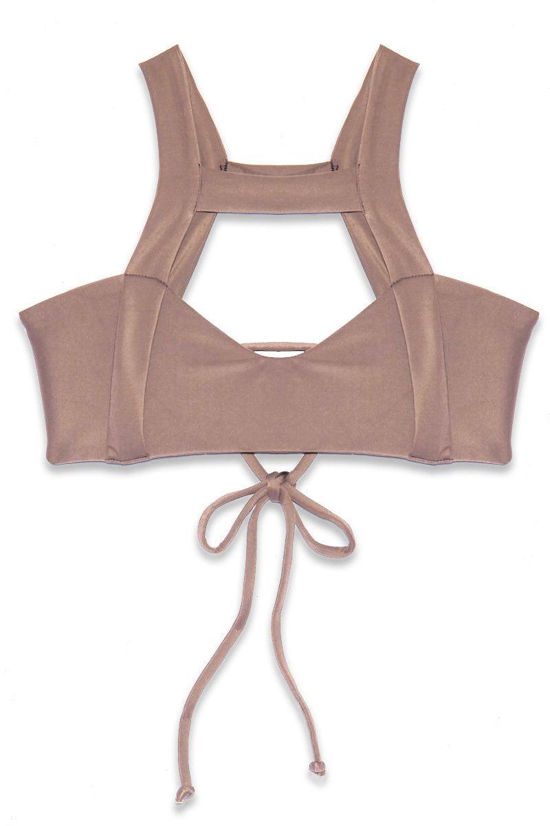 ISSA DE' MAR Waimea Front Strap Bralette Bikini Top - Mauve Bikini Top   Mauve  Issa De' Mar Waimea Top - Mauve Flatlay View Front Strap Detail Scoop Neckline Adjustable Tie Back  Removable Pads