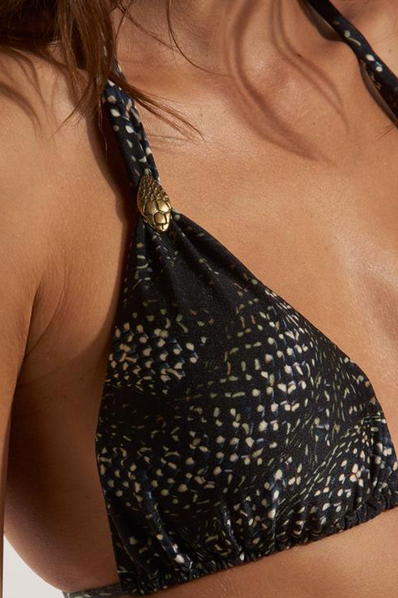 ROSA CHA Carla Strappy Bikini Top - Snake Print Bikini Top | Snake Print| Rosa Cha Carla Strappy Bikini Top - Snake Print Fabulous black snake print triangle bikini top with fabric loop detail. Elegant snake printed swim fabric will have you dreaming of romantic hideaways and secret beaches on far-off shores. Fabric loop sliders on straps can be slid up for fuller coverage or scrunched down to show more skin. Thick halter straps and string tie back closure are adjustable and allow you to customize the fit of this bikini top Close View